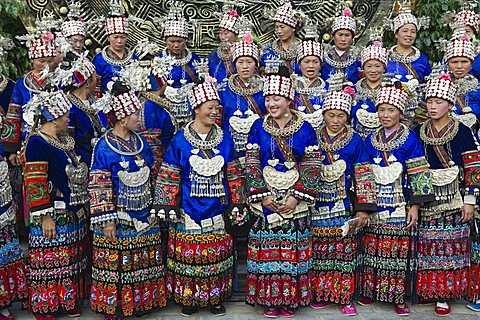 Elaborate costumes worn at a traditional Miao New Year festival in Xijiang, Guizhou Province, China, Asia